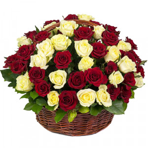 Корзина 51 роза Микс