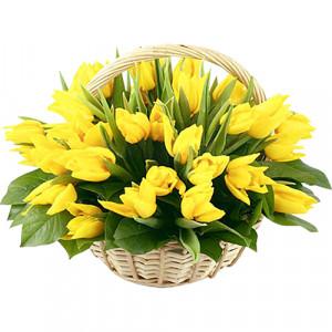 Корзина 51 желтый тюльпан