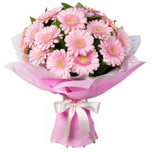 Букет 19 розовых гербер