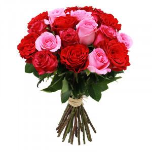 Букет роз красно-розовый микс
