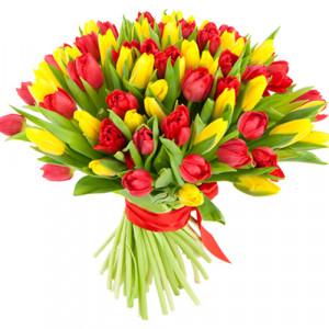 Букет 101 красно-желтый тюльпан