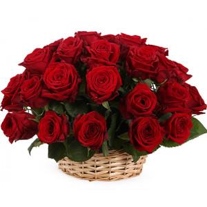 Корзина 21 красная роза