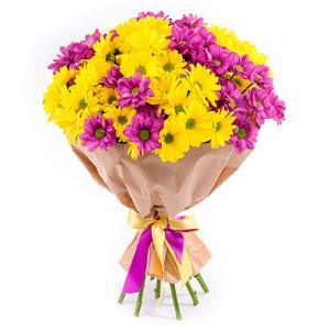 Букет 9 разноцветных хризантем