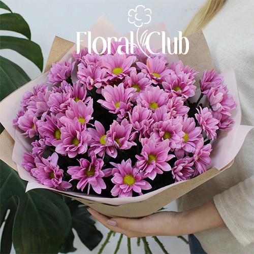Букет 9 розовых хризантем