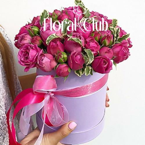 19 роз Мисти Баблс в шляпной коробке