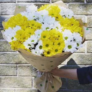 Букет 15 хризантем Солнышко