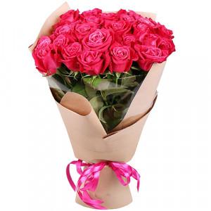 Букет 25 малиновых роз
