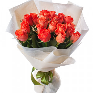 Букет 19 оранжевых роз WOW