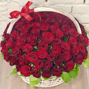 Корзина 101 красная роза
