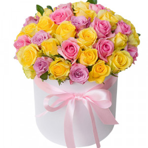51 роза Ассорти в шляпной коробке