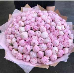 Букет 101 розовый пион