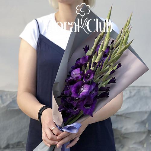 Букет 9 фиолетовых гладиолусов
