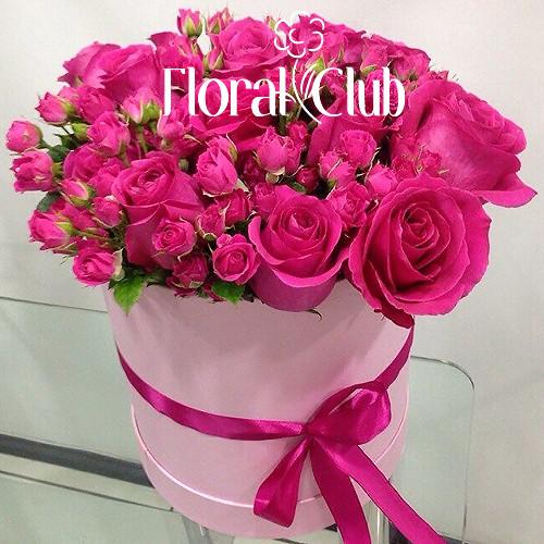 Композиция Флоренцо розовые розы в шляпной коробке