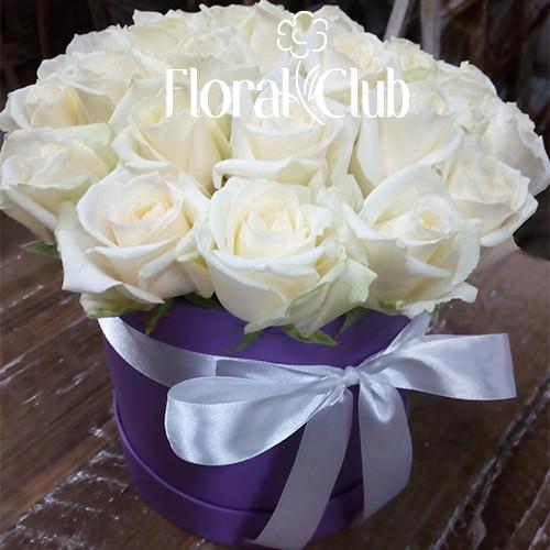 19 белых роз в шляпной коробке