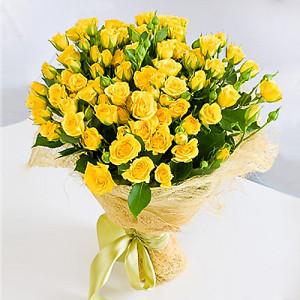 Букет 19 желтых кустовых роз