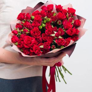 Букет 19 красных кустовых роз