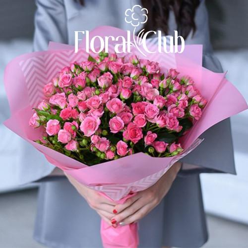 Букет 19 кустовых розовых роз