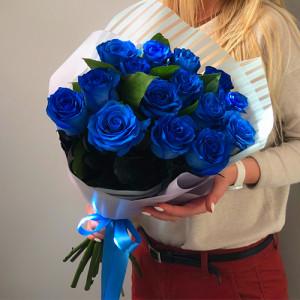 Букет 19 синих роз