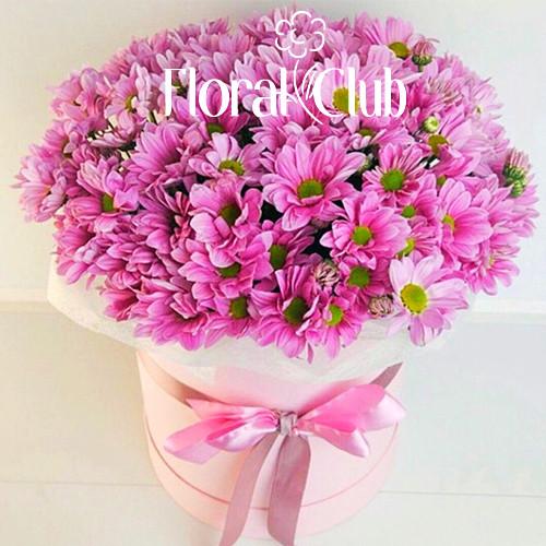 9 розовых хризантем в шляпной коробке